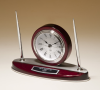 Rosewood Piano Finish Desk Clock and Pen Set with Silver Aluminum Accents Academic Awards