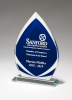 Flame Series Clear Glass Award with Blue Center and Frosted Accents Clear Glass Awards