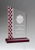 Zenith Series Clear Acrylic with Lattice Pattern and Red Metallic Accent Corporate Acrylic Awards Trophy
