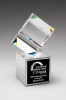 Clipped Crystal Cube on Brushed Silver Metal Base Employee Awards