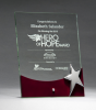 Glass Award with Silver Star and Rosewood Finish Base Jade Glass Awards