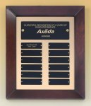 Cherry Finish Wood Frame Perpetual Plaque 12 Plate Perpetual Plaques