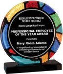 Round Stained Glass Acrylic with Black Base Academic Awards