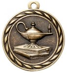 Lamp of Knowledge 2 Round Sculptured Medal    Academic Awards