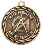 Math Problems Are No Problem 2 Round Sculptured Medal  Academic Awards