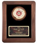 Genuine Walnut Frame With Fireman Clock Achievement Awards