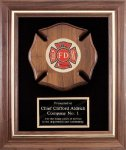 Genuine Walnut Frame With Fireman Casting Achievement Awards