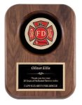 Genuine Walnut Plaque With Fireman Casting Achievement Awards