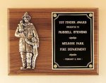 Fireman Plaque with Antique Bronze Finish Casting. Achievement Awards