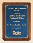 American Walnut Plaque with Marble Finished Plates Achievement Awards
