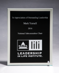 Glass Plaque with Black Center and Mirror Border Achievement Awards