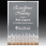 Clear Acrylic Trophy Award with Gold Tint and Routed Accents Achievement Awards