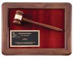 Genuine Walnut Frame Gavel Plaque Achievement Awards