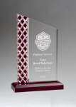 Zenith Series Clear Acrylic with Lattice Pattern and Red Metallic Accent Acrylic Awards Trophy