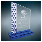 Blue Diamond Ice Unite Acryilc Acrylic Awards Trophy