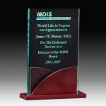 Jade Acrylic Award with Rosewood Base Acrylic Awards Trophy Wood