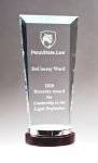Premium Series Glass Award with Rosewood and Aluminum Base All Purpose Crystal