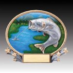 3-D Action Resin Oval Bass Fishing All Trophies