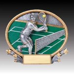 3-D Action Resin Oval Tennis Male All Trophies