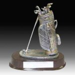 Pewter Finish Golf Bag Trophy Antique Silver Series