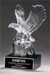 Glass Eagle on Black Glass Base Artistic Glass Awards