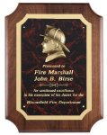 Genuine Walnut Plaque With Fireman Casting Award Plaques