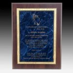 Blue Marble Plaque with Florentine Accent Award Plaques