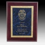 Blue Marble Plaque with Florentine Accent on Piano Board Award Plaques