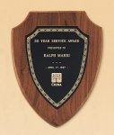 American Walnut Shield Plaque with a Black Brass Plate Award Plaques
