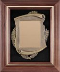 Genuine Walnut  Frame with Metal Casting on Black Velour Award Plaques