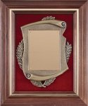 Genuine Walnut Frame with Metal Casting on Red Velour Award Plaques