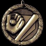 Baseball & Glove 2 Round Sculptured Medal Baseball Trophies
