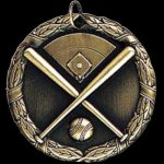 Baseball Crossed Bats 2 Round Sculptured Medal Baseball Trophies