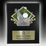 Plaque with Diamond Resin Relief Basketball Trophies