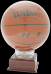 Allstar Basketball Holder on 2-1/8 Cherry Finish Base Basketball Trophies Awards
