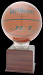Allstar Basketball Holder With 5 Cherry Finish Base Basketball Trophies Awards