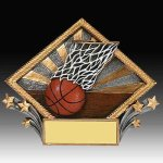 Basketball Diamond Resin Basketball Trophies Awards