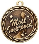 Most Improved 2 Round Sculptured Medal   Cheerleading Trophy Awards