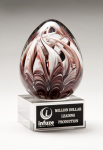 Egg-Shaped Burgundy and White Art Glass Award Clear Glass Awards