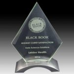 Glass Arrowhead on Aluminum Base Clear Glass Awards