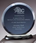 Smoked Circle On Black Base Clear Glass Awards