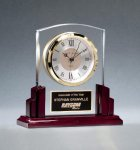 Glass Clock with Rosewood High Gloss Base Clear Glass Awards