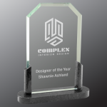 Clipped Corner Premier Glass with Black Marble Base Clipped Corner Awards