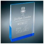 Blue Tinted Acrylic Wedge Corporate Acrylic Awards Trophy