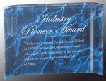 Blue Marbleized Acrylic Crescent Awards Corporate Acrylic Awards Trophy