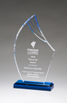 Flame Series Clear Acrylic with Blue Accents Corporate Acrylic Awards Trophy