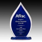 Blue Tinted Flame Acrylic Corporate Acrylic Awards Trophy