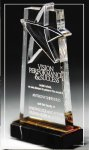 Gold Lasered Star Accent On Base Corporate Acrylic Awards Trophy