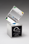 Clipped Crystal Cube on Brushed Silver Metal Base Corporate Crystal Awards