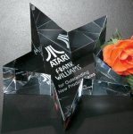 Slanted Star Paperweight Crystal Awards